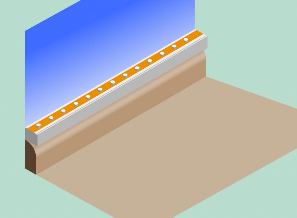 LED-Leiste auf dem Kabelkanal über der Sockelleiste montiert.