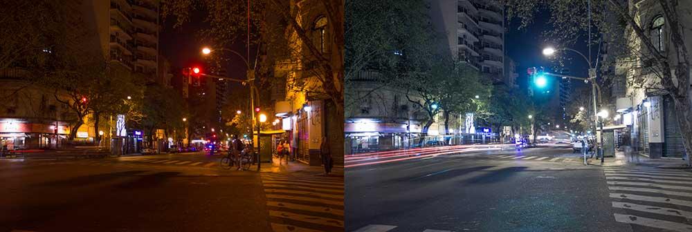 Vorher-Nachher LED Straßenlaternen in Buenos Aires