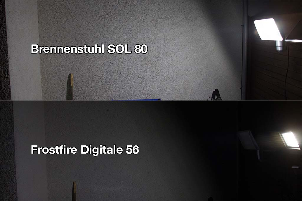 Vergleich der Helligkeit der beiden Solarleuchten.